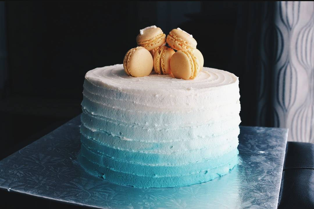 Turquoise Ombre Lemon Macaron Cake Crumbs And Tea