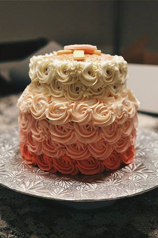 Pink Ombre Rose Cake Crumbs And Tea